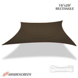 Shade Screen 16′ x 20′ Sun Shade Sail for Patio Backyard Deck UV Block Fabric &#8211 ...
