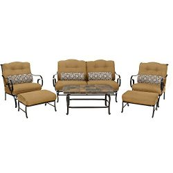 Oceana 6-Piece Patio Set in Country Cork with a Stone-top Coffee Table