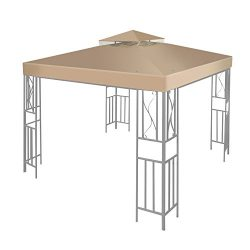 Flexzion 12′ x 12′ Gazebo Canopy Top Replacement Cover (Beige) – Dual Tier Up  ...