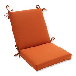 Pillow Perfect Indoor/Outdoor Cinnabar Squared Chair Cushion, Burnt Orange