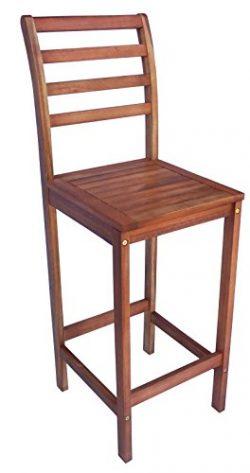 Zen Garden Eucalyptus Wood Bar Chair, Size – 16″ x 16″ x 47.5″, Set of 2 ...