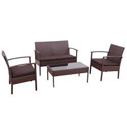 Tangkula 4 PC Outdoor Wicker Furniture Set Patio Garden Pool Rattan Loveseat Sofa Cushioned