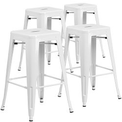 """Flash Furniture 4 Pk. 30"""" High Backless White Metal Indoor-Outdoor Barstool with Square Seat"""