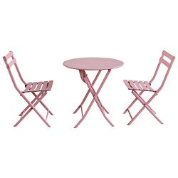 Giantex 3 PC Folding Bistro-Style Patio Table and Chair Set Outdoor Patio Garden Pool Backyard F ...