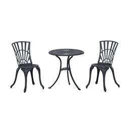 Outsunny 3 Piece Antique Style Outdoor Patio Bistro Dining Set – Black