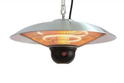 Ener-G+ Indoor/Outdoor Ceiling Electric Patio Heater with LED Light and Remote Control, Silver