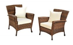 W Unlimited Rustic Collection 2 Piece Patio Chairs Outdoor Furniture Light Brown Rattan Wicker G ...