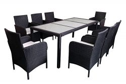 MCombo 9 PC Outdoor Patio Rattan Wicker Furniture Dining Table Chair Set Cushioned 6089-0081G