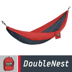 ENO Eagles Nest Outfitters – DoubleNest Hammock, Portable Hammock for Two, Red/Charcoal (FFP)