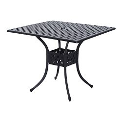 Outsunny Square Cast Aluminum Outdoor Dining Table – Black