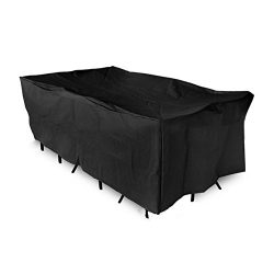 SHENGXIA Waterproof Rectangular Patio Barbecue Furniture Cover for Table and Chair Set 84″ ...