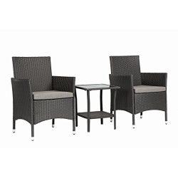 Magari Furniture NGI-8 Giorno Rattan Wicker Patio Bistro Set (3 Pieces), Black