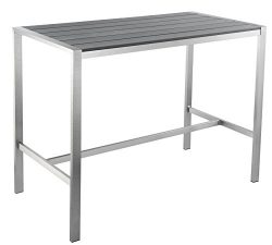 Haven Aluminum Outdoor Long Bar Table in Slate Grey Poly Wood, Brushed Nickel