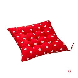 Kimanli Durable Polka Dot Chair Cushion Garden Dining Home Office Seat Soft Pad (Red)