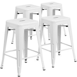 "Flash Furniture 4 Pk. 24"" High Backless White Metal Indoor-Outdoor Counter Height Stool wi ..."