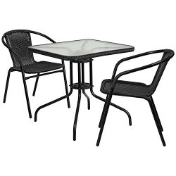 "Flash Furniture 28"" Square Glass Metal Table with Black Rattan Edging and 2 Black Rattan S ..."