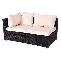 Tangkula Outdoor Wicker Furniture Set Infinitely Combination Cushion Wicker (1 corner sofa+ 1 ar ...