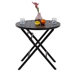 PHI VILLA Large Patio Metal Bistro Table- Outdoor Portable Round Folding Dining Table, Dia.28.1& ...