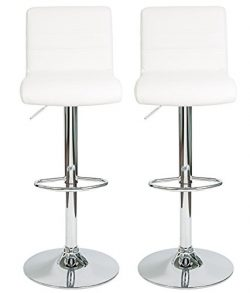 HULLR Modern Swivel Bar Stools Chairs Height Adjustable, Set of 2 (White)