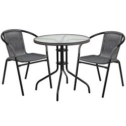 "Flash Furniture 28"" Round Glass Metal Table with Gray Rattan Edging and 2 Gray Rattan Stac ..."