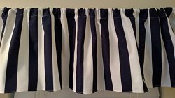 Navy Blue and white stripes canopy curtain valance window treatment. Beach , sail, Boys Home Tou ...