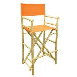 Zew Hand Crafted Tall Foldable Bamboo Director's Chair with Treated Comfortable Canvas, Se ...