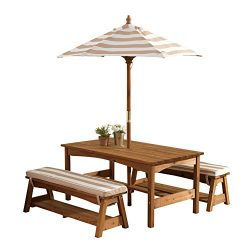 KidKraft 00 Outdoor Table and Bench Set with Cushions and Umbrella, Espresso with Oatmeal and Wh ...