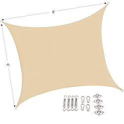 Outhere 6'X8′ Small Sun Shade Shade Sail Rectangle with Stainless Steel Hardware Kit ...