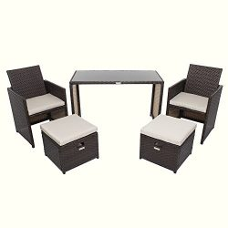Wicker Patio Furniture Set, Chicreat 5 PC Set with Table Chairs and Ottomans , Brown Rattan with ...