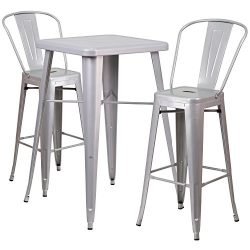 "Flash Furniture 23.75"" Square Silver Metal Indoor-Outdoor Bar Table Set with 2 Stools with ..."