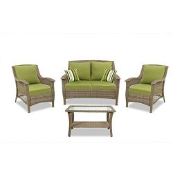 Quality Outdoor Living Greenport All-Weather Resin Wicker Deep Seating Patio Set, 4-Piece, Light ...
