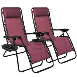 Best Choice Products Zero Gravity Chairs Case Of (2) Lounge Patio Chairs Outdoor Yard Beach- Bur ...