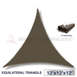 12′ x 12′ x 12′ Sun Shade Sail UV Block Fabric Canopy in Brown Coffee Triangle ...