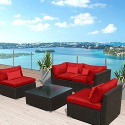 Modenzi 5G-U Outdoor Sectional Patio Furniture Espresso Brown Wicker Sofa Set (Red)