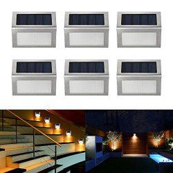 Easternstar Solar Light,Outdoor Waterproof Stainless Steel Solar LED Step Light Illuminates Stai ...