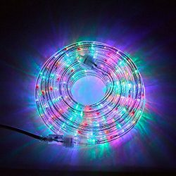 24 Ft. Plugin Rope Lights, 287 Multicolor LEDs, Connectable, Dimmable, Waterproof, Indoor/Outdoo ...