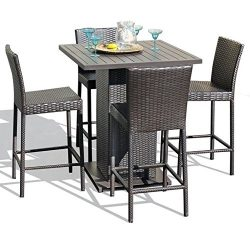 TK Classics NAPA-PUB-WITHBACK-4 5 Piece Napa Pub Table Set with Barstools Outdoor Wicker Patio F ...