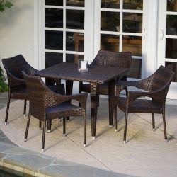 Del Mar Patio Furniture ~ 5-piece Outdoor Wicker Dining Set with Stacking Patio Dining Chairs