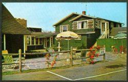 Bernice's Restaurant Patio Table Umbrella Guilford CT postcard 1950s