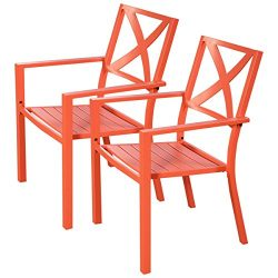 Giantex 2 Pcs Orange Outdoor Patio Chair Slat Seat Furniture Porch Garden With Armrest