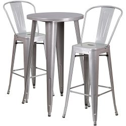"""Flash Furniture 24"""" Round Silver Metal Indoor-Outdoor Bar Table Set with 2 Cafe Stools"""