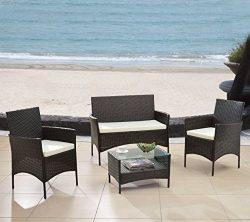 Modern Outdoor Garden, Patio 4 Piece Seat – Gray, Black Wicker Sofa Furniture Set (Espresso)