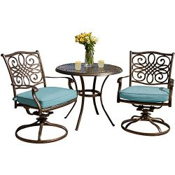 Hanover TRADDN3PCSW-BLU 3 Piece Seasons Bistro Set with 2 Swivel Rockers and 32″ Round Table