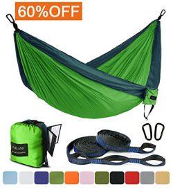 Outdoor Camping Hammock – Portable Anti-fade Nylon Double Hammock with 2 Piece 16 Loop Str ...