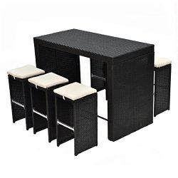 Tangkula 7 PCS Rattan Wicker Bar Table Stool Dining Set Patio Garden Outdoor Furniture