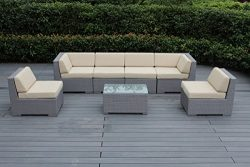 Ohana 7-Piece Outdoor Wicker Patio Furniture Sectional Conversation Set with Weather Resistant C ...