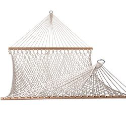 Lazy Daze Hammocks Cotton Rope Double Hammock with Wood Spreader, Chains and Hooks, for Two Pers ...