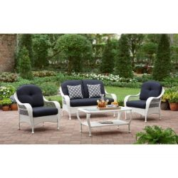 Conversation Set 4-Piece Patio 4 Seats Azalea Ridge, Blue/White
