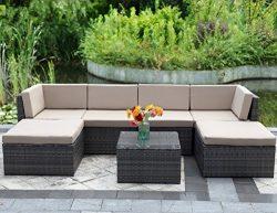 7 Piece Outdoor Wicker Sofa,Wisteria Lane Patio Furniture Set Garden Rattan Sofa Cushioned Seat  ...