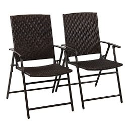 PHI VILLA Patio Rattan Folding Chair Indoor Outdoor Wicker Bistro Chair, 2 Pack
